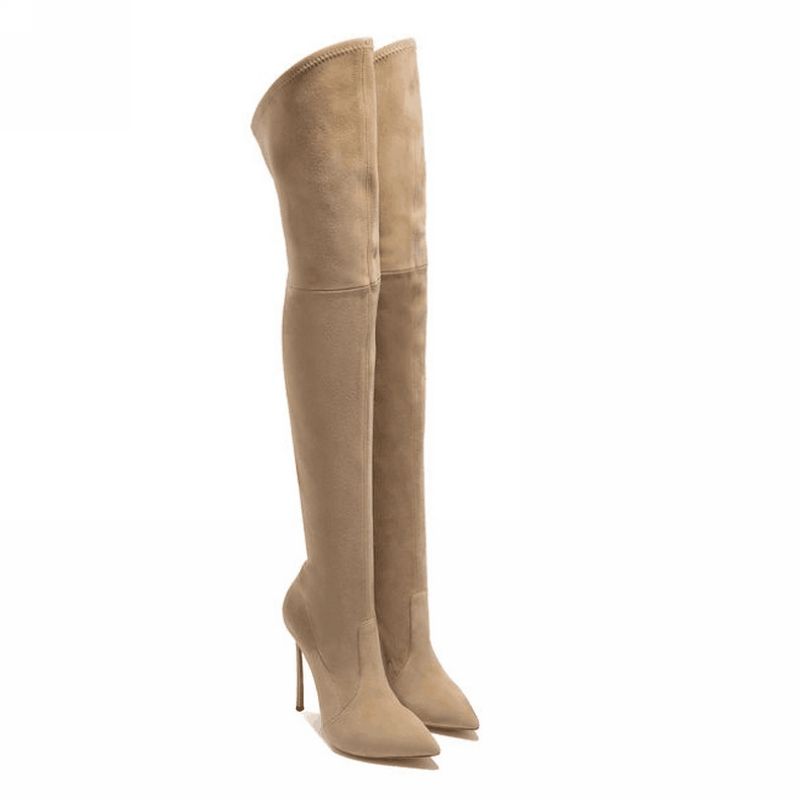 Ava Beige Suede Leather Boots (8)