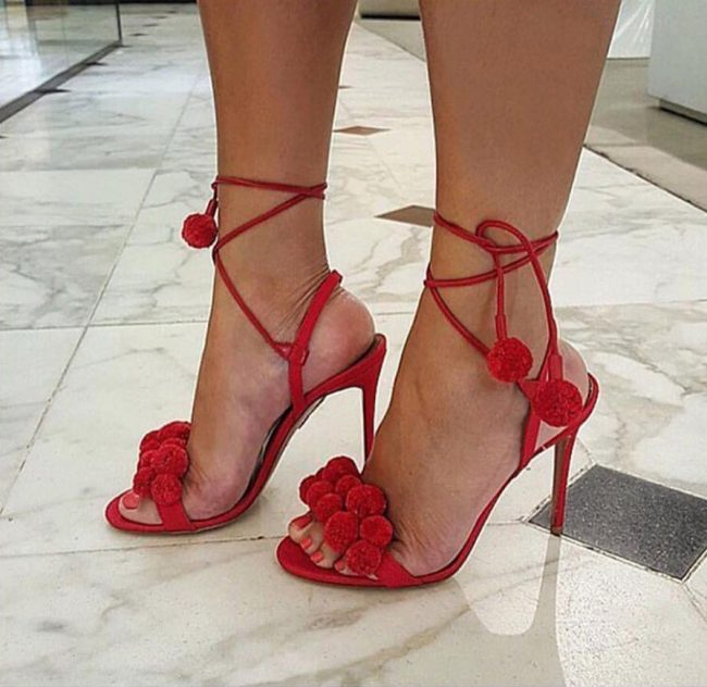 Felicia Red Pom Pom Heel Sandals (1)