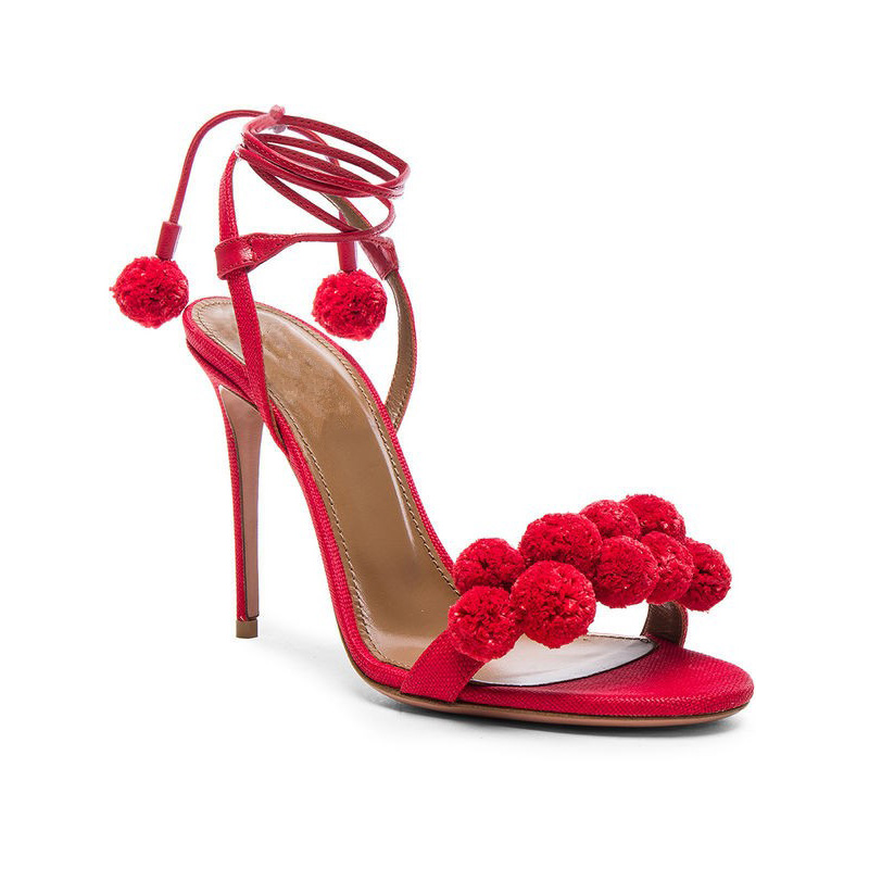 Felicia Red Pom Pom Heel Sandals (4)