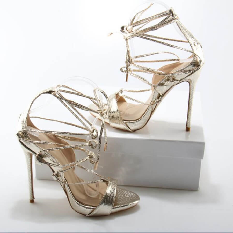 Thea Gold Lace Up Sandals (1)