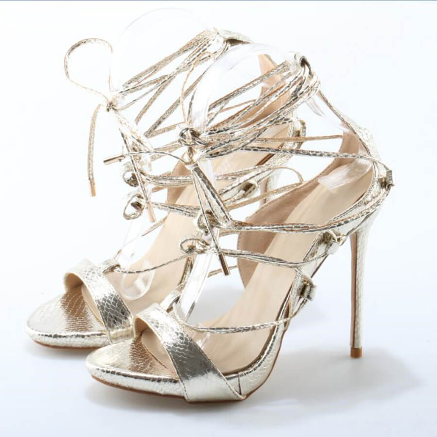 Thea Gold Lace Up Sandals (6)