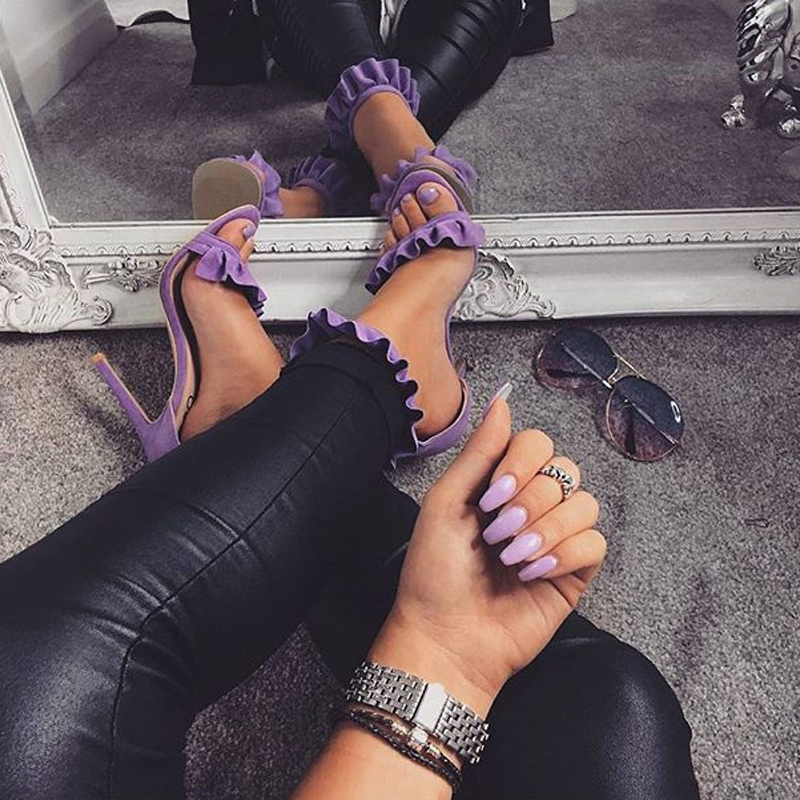 LILA RUFFLE SANDALS Purple 1